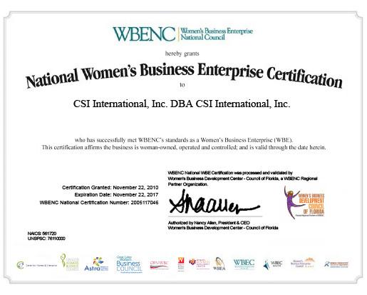 Certifications | CSI International, Inc.